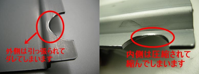 曲げ加工の際の穴の変形